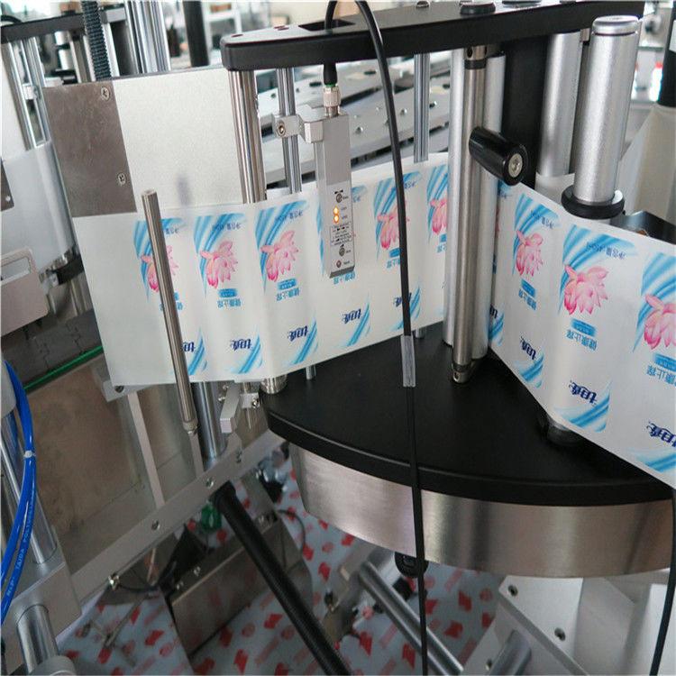 Outomatiese enkel- / dubbelkant-seshoekige etiketmasjien vir ronde bottelplakkers