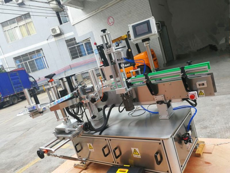 China Drukgevoelige ronde bottelplakkaaretiketmasjien, vertikale omhulsel van etiketaanwender